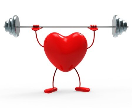 Heart Fitness Representing Physical Activity And Dumbbells