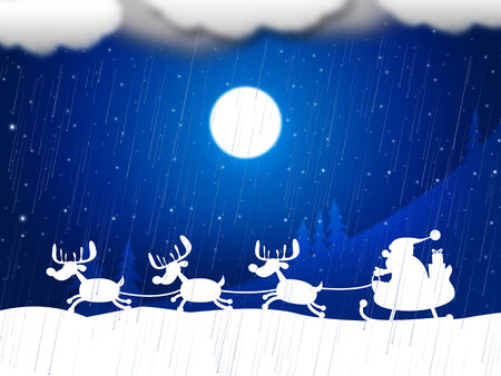 Reindeer Snow Meaning Merry Christmas And X-Mas
