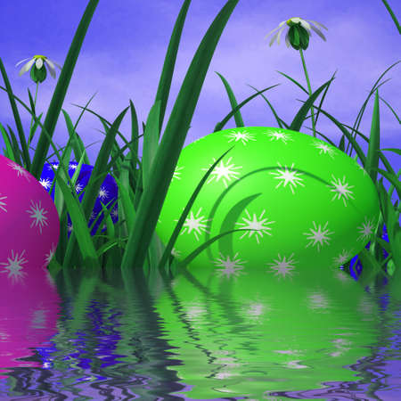 mirroring: Easter Eggs Showing Mirroring Grassland And Lawn Stock Photo