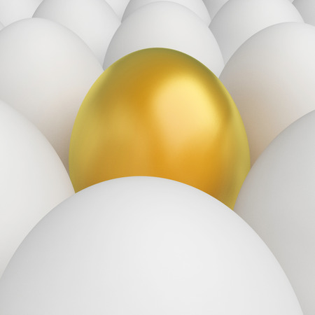 incompatible: Stand Out Indicating Golden Egg And Loneliness Stock Photo