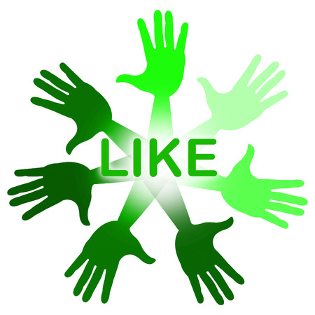 follower: Hands Like Representing Social Media And Follower