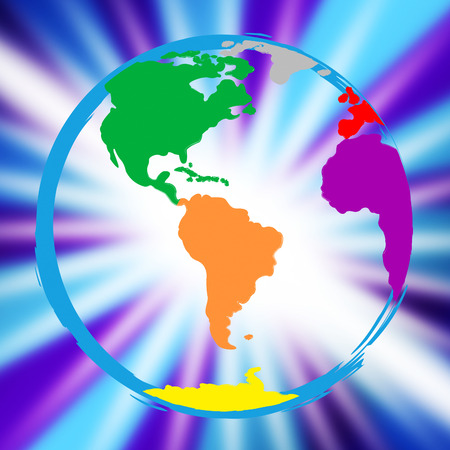 globally: World Globe Meaning Globalize Multicoloured And Globally