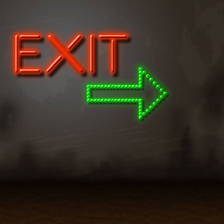escaped: Neon Exit Representing Glowing Escaping And Leaving