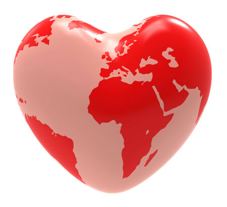Heart Globe Representing Valentines Day And Globally