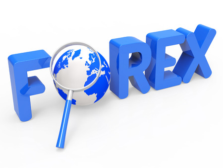 foreign currency: Magnifier Forex Representing Foreign Currency And Research Stock Photo