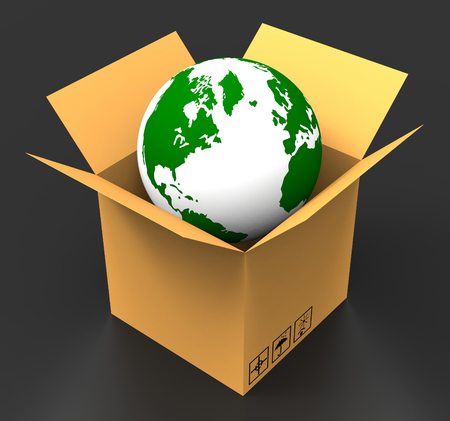 globally: Delivery World Showing Globally Globalization And Sending Stock Photo
