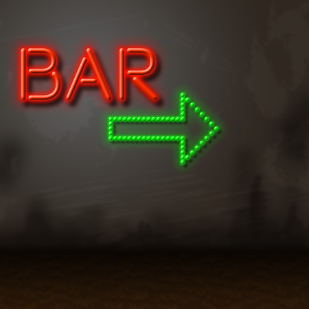 Neon Bar Showing Traditional Pub And Bright Imagens