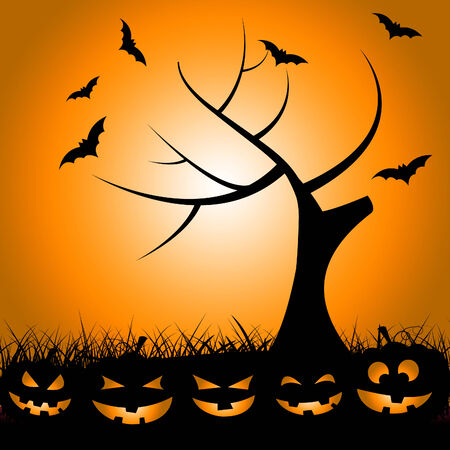Halloween Tree Showing Trick Or Treat And Branch Bats Stock Photo