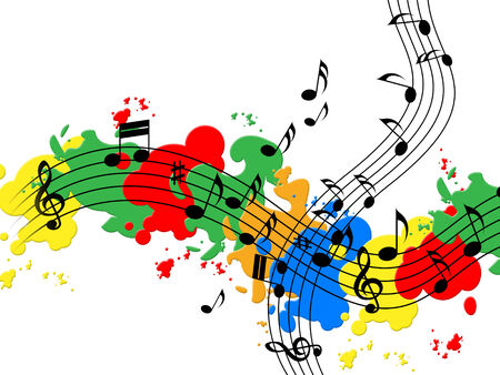 Splat Paint Showing Music Sheet And Colorful photo