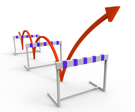 Overcome Hurdle Indicating Conquering Adversity And Obstacle