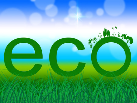 earth friendly: Word Eco Meaning Earth Friendly And Eco-Friendly Stock Photo