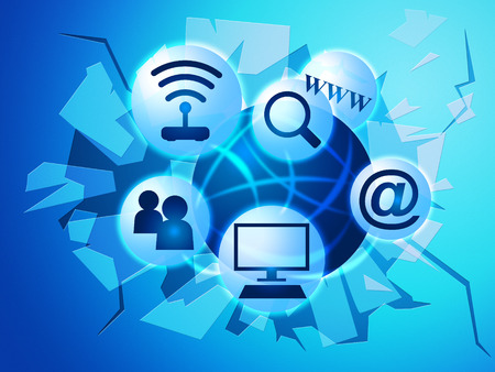 worldwide web: Social Media Representando News Feed World Wide Web y