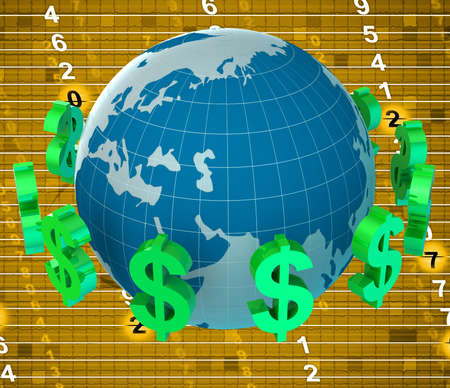 currency exchange: Forex Dollars Indicating Currency Exchange And Cash