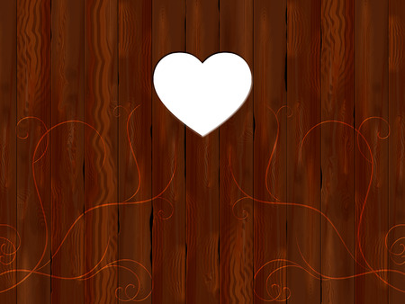 panelling: Heart Panelling Representing Empty Space And Brown Stock Photo