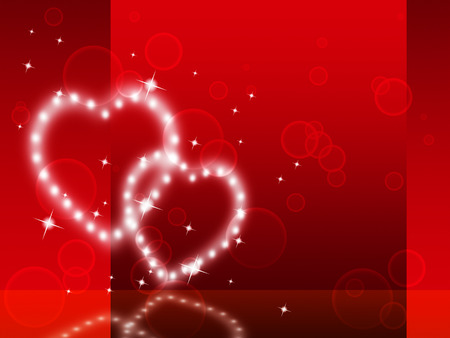 with fondness: Red Hearts Background Showing Fondness Special And Sparkling