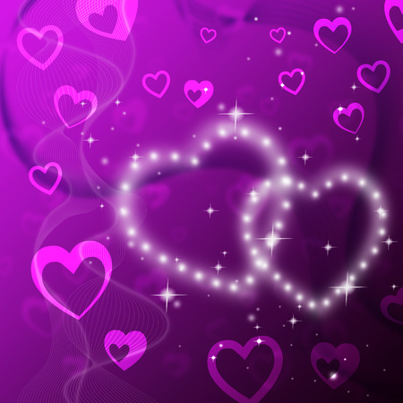 fond: Purple Hearts Background Showing Romantic Fond And Glittering