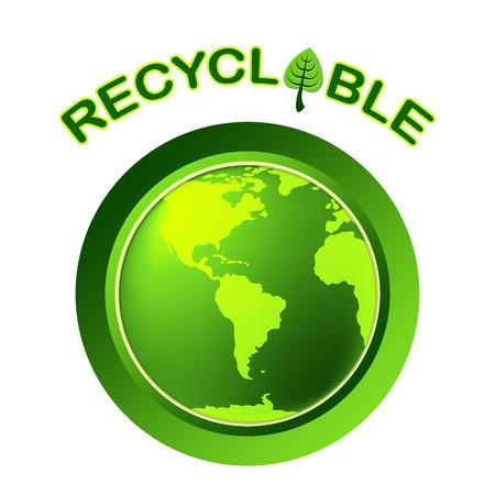 reciclable: Mundial Reciclable Representando Go Green y reutilizable Foto de archivo