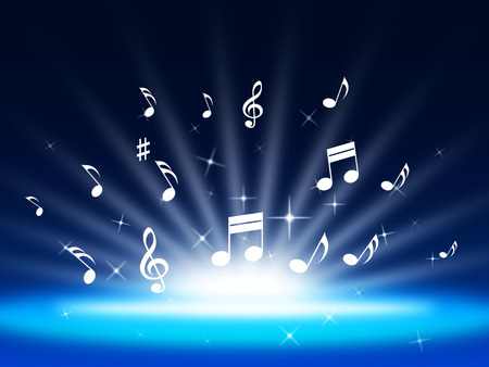Blue Music Background Meaning Instruments And Soundwaves  photo