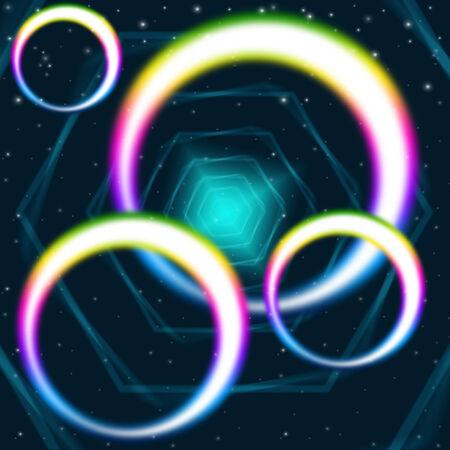 interlinked: Rainbow Circles Background Significado Ronda hex�gonos y Colores Foto de archivo