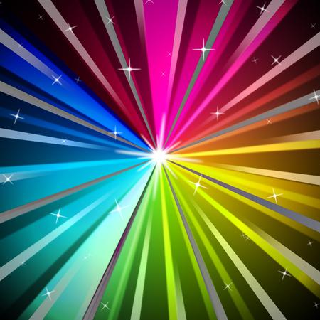 radiating: Raggi colorati sfondo che mostra la luminosit� Arcobaleno e irradiando