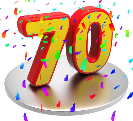 seventieth: Seventieth Seventy Representing Birthday Party And Remembrance Stock Photo