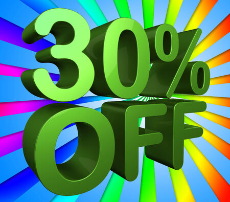 thirty percent off: Thirty Percent Off Showing Clearance Reduction And Promotion