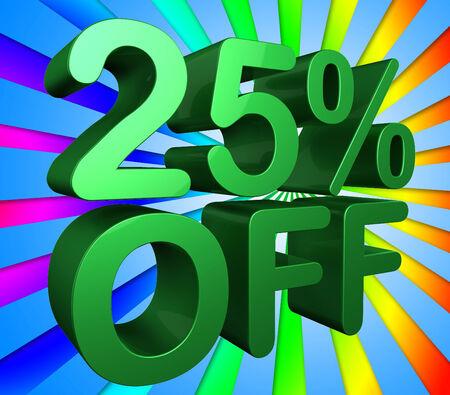 twenty five: Veinticinco por ciento Significado 25% de descuento y barato Foto de archivo