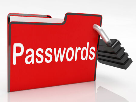 logon: Passwords Security Showing Sign In And Folder Stock Photo
