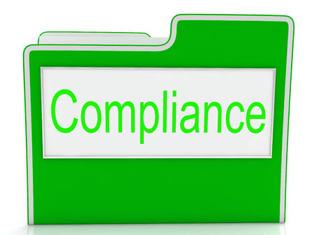 conform: Files Compliance Indicating Agree To And Conform Stock Photo