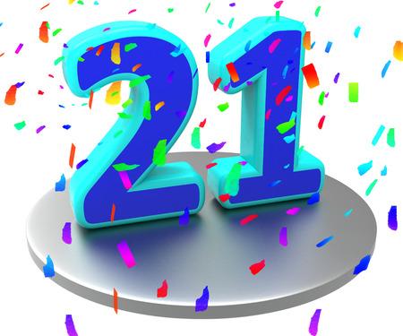 21: Twenty First Showing Happy Birthday And Salutation