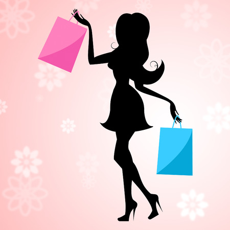 merchandiser: Woman Shopping Representing Commercial Activity And Retail