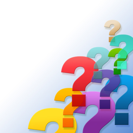 asked: Question Marks Indicating Frequently Asked Questions And Text Space Stock Photo