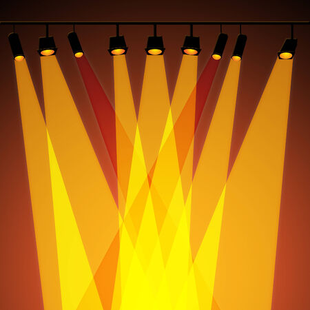 fari da palco: Spotlight di sfondo che mostra Stage Lights and Shine Archivio Fotografico