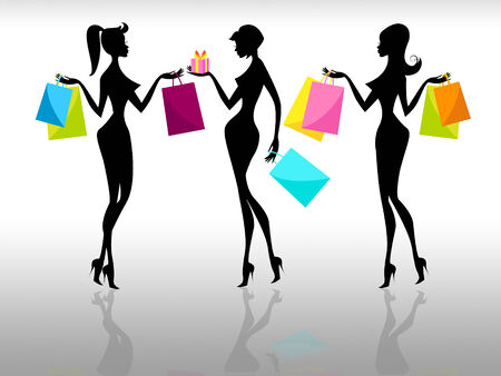 merchandiser: Shopping Shopper Showing Retail Sales And Females Stock Photo