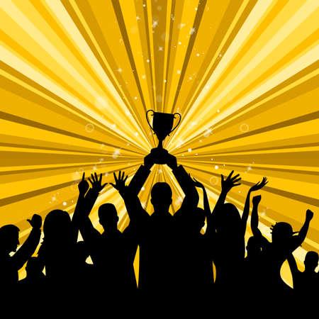 primer lugar: Celebre Win muestra el primer lugar y la copa