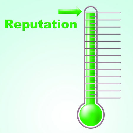 reputed: Reputation Thermometer Indicating Opinion Temperature And Integrity Stock Photo