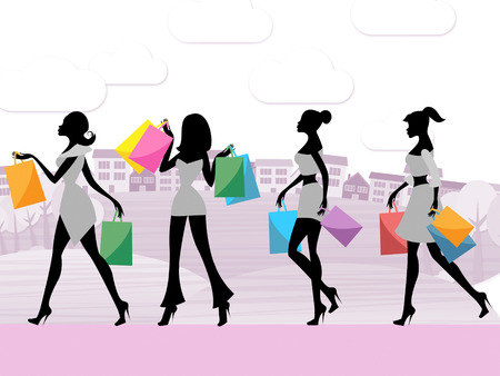 merchandiser: Women Shopping Meaning Retail Sales And Commerce Stock Photo