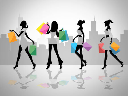 merchandiser: Women Shopping Indicating Commercial Activity And Customer Stock Photo