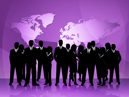 globally: Business People Showing Globally Corporate And Globalise