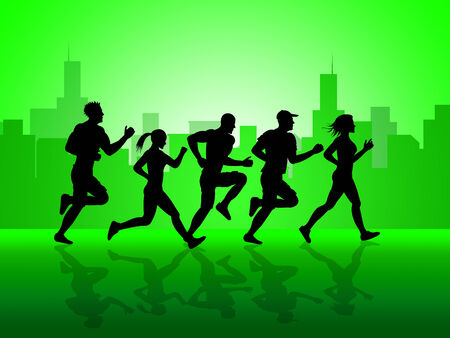 get a workout: Jogging Exercise Representing Get Fit And Healthy