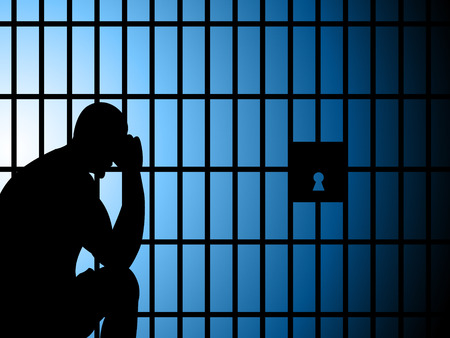 correctional facility: Copyspace Jail Meaning Send To Prison And Take Into Custody Stock Photo