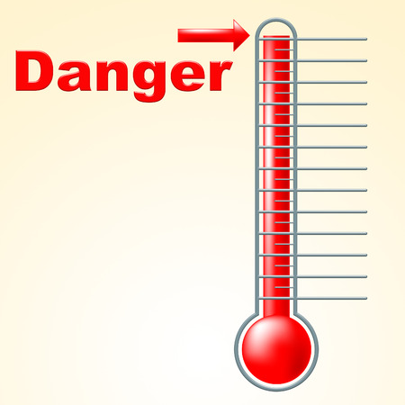 Thermometer Danger Showing Degree Advisory And Hazard
