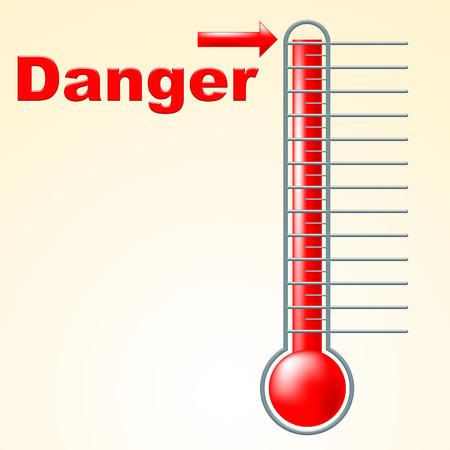 advisory: Thermometer Danger Showing Degree Advisory And Hazard