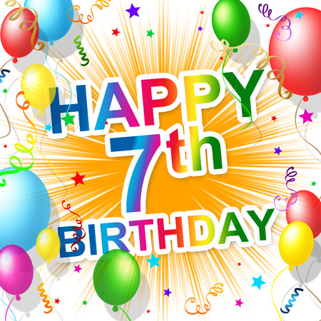 seventh: Birthday Seventh Meaning Celebrating Greetings And Congratulating