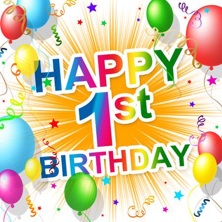 first birthday: Birthday First Representing Celebration Celebrating And Greeting Stock Photo
