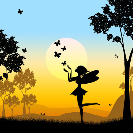 fairyland: Butterflies Silhouette Representing Fairy Tale And Animal Stock Photo