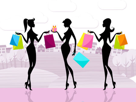 consumerism: Shopping Shopper Representing Commercial Activity And Consumerism Stock Photo