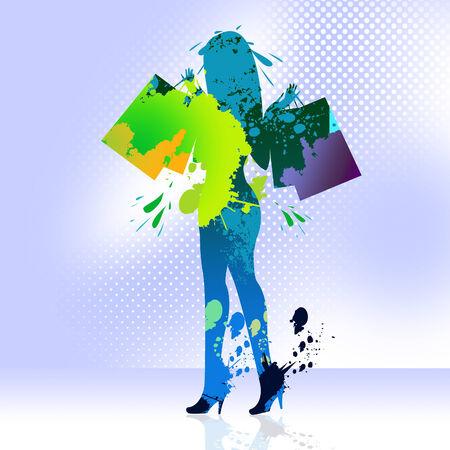 merchandiser: Shopping Shopper Indicating Retail Sales And Merchandise Stock Photo