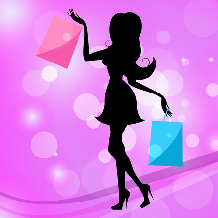 merchandiser: Shopping Woman Meaning Commercial Activity And Commerce