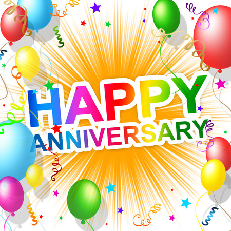 Glücklicher Jahrestag Anzeige Freude feiern und Gruß Lizenzfreie Bilder